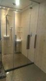 【麗室衛浴】新款無框無上樑 8mm強化玻璃 橫拉淋浴拉門 獨特五金鉸鏈