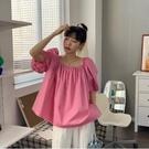 短袖襯衫~棉衫T恤~大泡泡袖 後背系帶娃娃襯衫5185.KK107A愛尚布衣