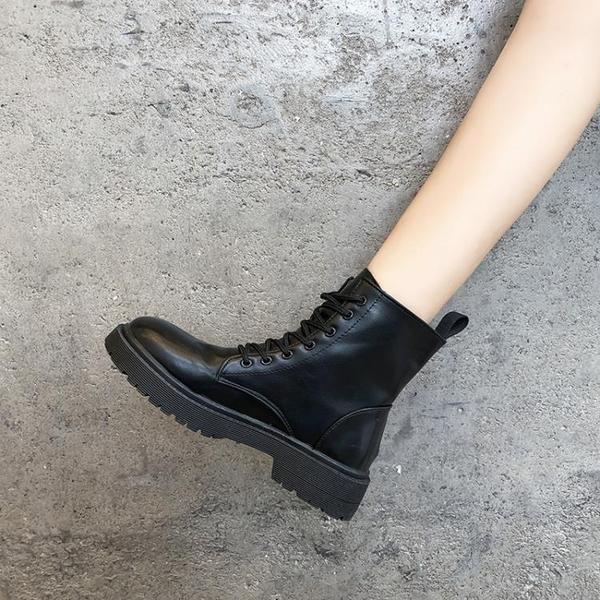 短靴 馬丁靴女英倫風秋季百搭帥氣黑色厚底機車短靴潮-Ballet朵朵