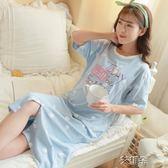 月子服哺乳睡裙夏薄款外出短袖產後孕婦睡衣女哺乳連身裙喂奶睡裙 艾維朵