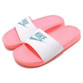 Nike 拖鞋 Wmns Benassi JDI 粉紅 白 藍綠 女鞋 運動拖鞋 【ACS】 343881-616
