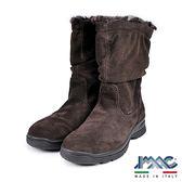 【IMAC】義大利時尚麂皮毛飾皺折中筒氣墊靴  深咖啡(82799-DBR)