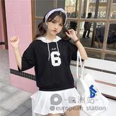 連帽T恤/女衛衣中袖短袖上衣「歐洲站」