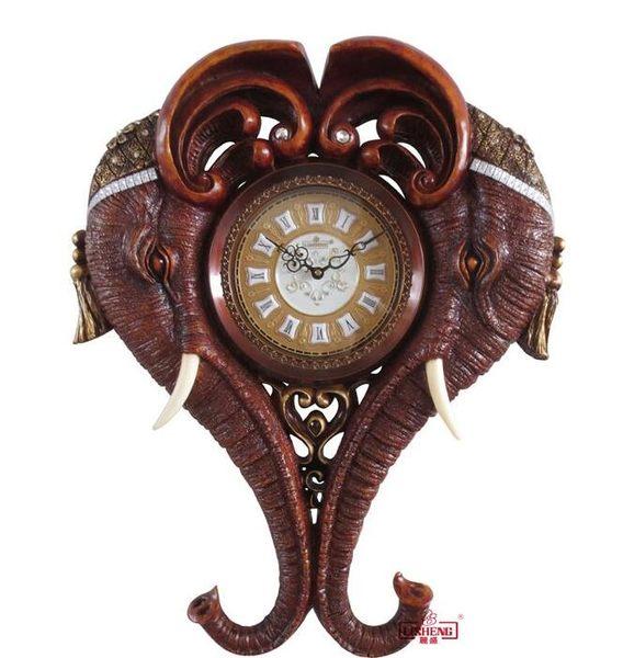幸福居*麗盛正品歐式古典大象造型挂鍾藝術靜音時鍾客廳大挂鍾 H170(首圖款1)