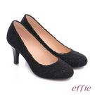 effie 耀眼女伶 優雅美型蕾絲窩心高跟鞋  黑