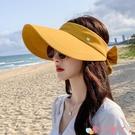 空頂帽 遮陽帽太陽帽子女士夏天出游鴨舌帽防曬遮臉空頂帽韓版百搭網紅款 愛丫 免運