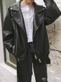 秋裝新款女裝機車翻領啞光PU皮衣寬鬆學生百搭夾克開衫短外套 交換禮物