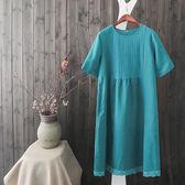 棉麻 日系蕾絲拼接洋裝-中大尺碼 獨具衣格