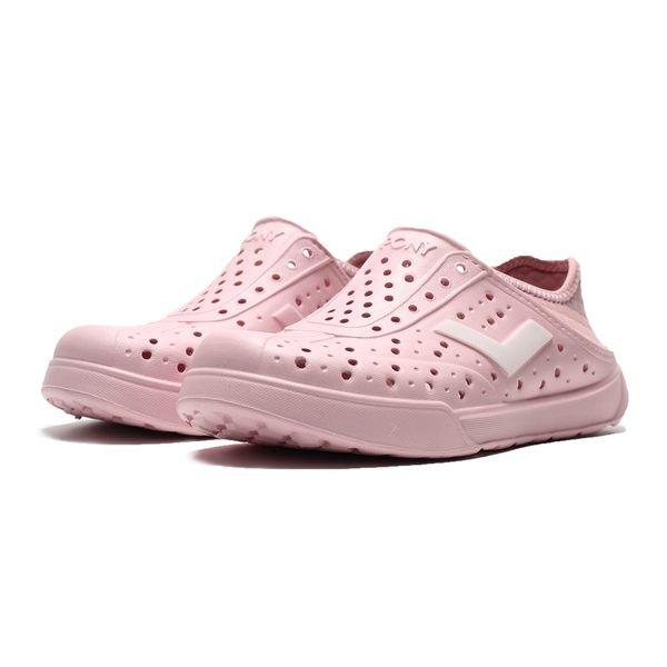 PONY 全粉紅 反光銀LOGO 後跟可踩 防水 水鞋 洞洞鞋 女 (布魯克林) 2019/05月 92U1SA03PK