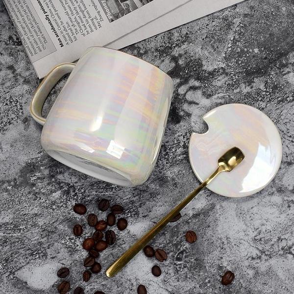 馬克杯家用陶瓷杯子帶蓋勺簡約咖啡杯水杯【聚寶屋】