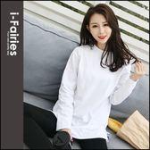 棉質白色下開衩圓領寬鬆長袖T恤 上衣★ifairies【66834】