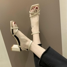方頭鞋 女鞋2021夏季新款網紅一字帶女士涼鞋仙女風百搭方頭粗跟高跟鞋潮 薇薇