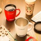 不銹鋼保溫馬克杯咖啡帶蓋勺情侶杯子辦公室【雲木雜貨】