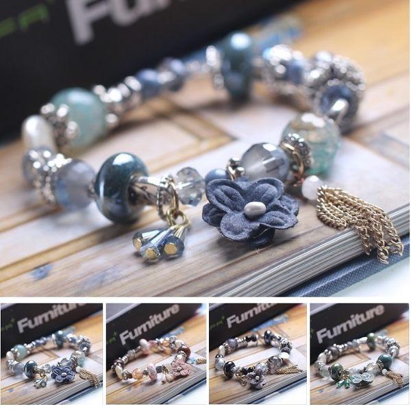 潘朵拉風格甜美繽紛花朵流蘇水晶串珠 手鍊
