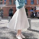 年夏季半身裙女中長款雪紡長裙白色蛋糕裙A字裙高腰網紗裙子  一米陽光