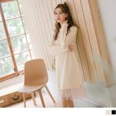 《DA7117-》溫暖內刷毛點點網紗裙襬拼接長洋裝 OB嚴選