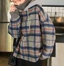 網紅學院風格子假兩件高領加絨寬鬆連帽衛衣外套(兩色可選)