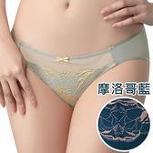 思薇爾-唯美女神系列M-XL蕾絲低腰三角內褲(摩洛哥藍)