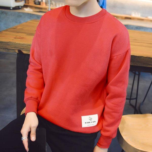 長袖T恤男士韓版秋學生修身保暖上衣服打底衫圓領衛衣潮男裝 優家小鋪