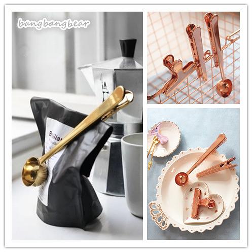 [協貿國際]黃銅金色封口夾咖啡勺 二合一勺子夾量匙奶粉勺咖啡茶匙1入