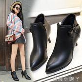 高跟短靴 蝴蝶結中女尖頭裸靴  馬丁靴加絨細跟女靴蘿莉小腳ㄚ