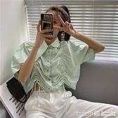法式上衣~ 2020新款法式短款抽繩設計感小眾上衣女夏韓版寬鬆泡泡袖摺皺襯衫