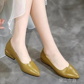 小皮鞋平底鞋女新款皮鞋女淺口單鞋中跟工作鞋媽媽鞋中年大碼粗跟豆豆鞋  全館免運