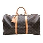 【台中米蘭站】全新展示品 Louis Vuitton 經典字花KEEPALL手提/旅行袋-50cm(M41426-咖)