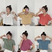 YoYo 夏季新品!一星期七天短款棉質短袖上衣女(7色)Q1031