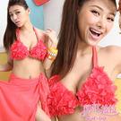 *╮粉紅拉拉【PGW12020】立體花瓣豐胸感→純色性感‧三件式爆乳比基尼+百變沙龍裙‧桃色