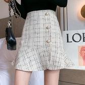 半身裙·A字短裙S-XL9292秋冬不規則小香風格子半身短裙顯瘦A字魚尾裙女T219D依佳衣