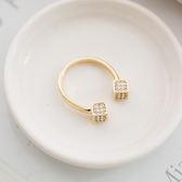 幾何印象立方塊鑲鑽造型戒指【r1501022】
