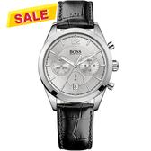 Hugo Boss 優質型男三眼計時腕錶-銀/黑 H1512745