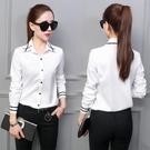 2020春秋新款韓版白色襯衫女長袖職業裝修身顯瘦百搭學生大碼女裝