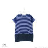 【INI】休閒造型、百搭條紋小口袋長版棉質上衣.深藍色