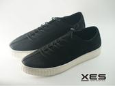 XES 真皮綁帶休閒鞋 便利伸縮環 男款 黑色