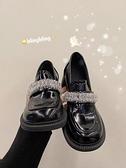 2021春季英倫風復古瑪麗珍鞋粗跟大頭娃娃鞋水晶冰花高跟樂福鞋女 伊蘿