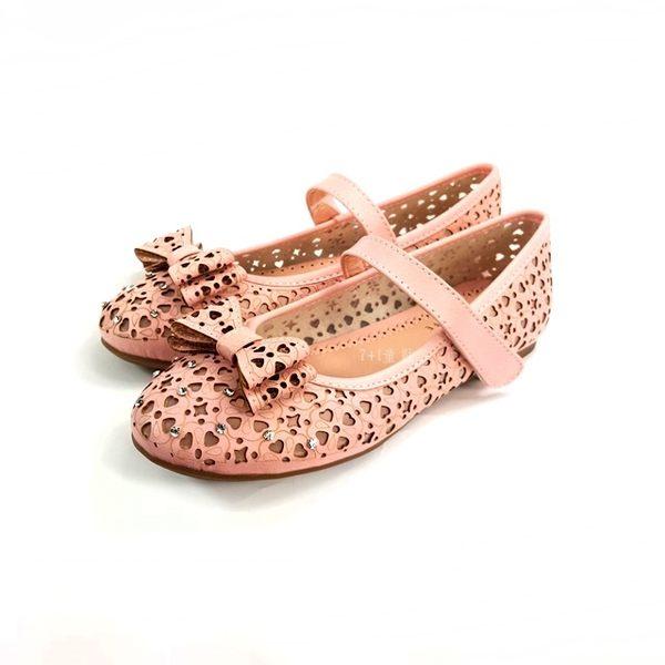 精緻鏤空雕紋 蝴蝶結 透氣公主鞋《7+1童鞋》C646粉色