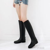長筒雨靴 英倫雨鞋 女高筒時尚雨靴女 成人長筒水鞋女士防滑膠鞋馬丁水靴 艾維朵