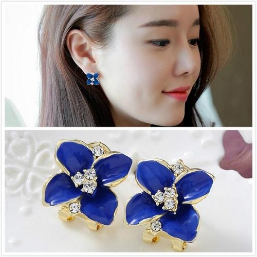 【NiNi Me】夾式耳環 奢華優雅小香風立體花朵水鑽夾式耳環 夾式耳環 E0056