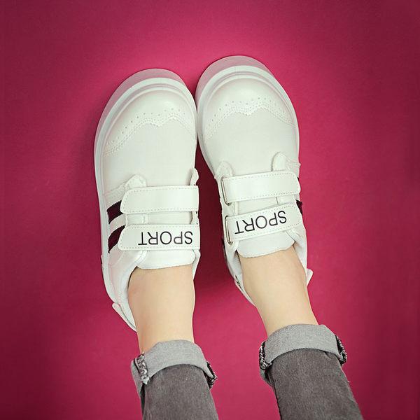 夏小白鞋懶人魔術貼女鞋韓版帆布鞋女學生鬆糕厚底鞋女運動休閒鞋