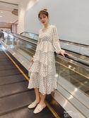 雪紡連身裙2019春裝新款過膝繫帶波點雪紡連身裙很仙的法國小眾長裙仙女裙子 【時髦新品】