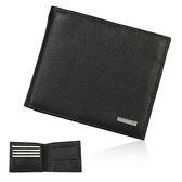 CalvinKlein金屬LOGO荔枝紋皮革零錢袋短夾禮盒(黑色)103091