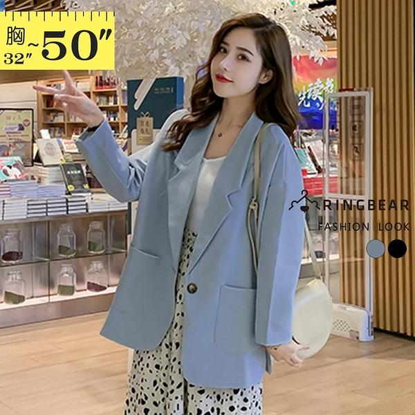 薄外套--韓版復古率性翻領造型大口袋中長版薄西裝外套(黑.藍M-4L)-J331眼圈熊中大尺碼