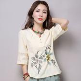 唐裝夏秋裝漢服改良民國古裝棉麻中國風女裝中式t恤上衣