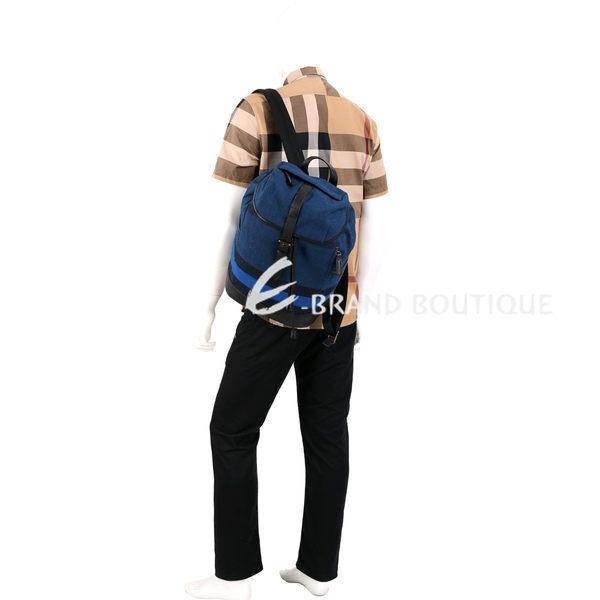 BURBERRY CANVAS 拼色帆布格紋後背包(藏青色)1620288-33