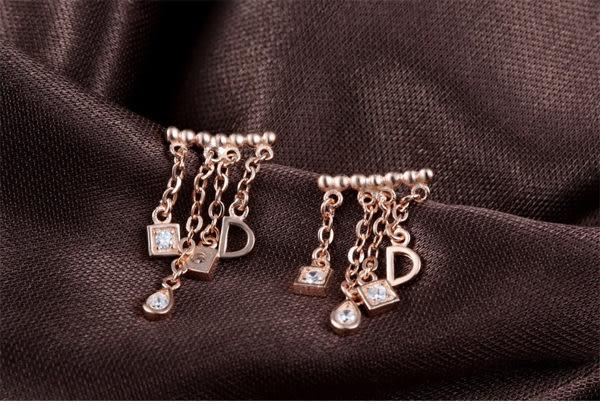韓版亮麗設計款-簾後-款玫瑰金925耳環d2