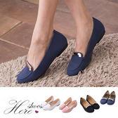 [Here Shoes]4色 百搭簡約金屬飾品仿麂皮材質圓頭平底包鞋 樂福鞋 便鞋─AW510
