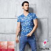 【TELITA】吸溼涼爽迷彩網眼短袖T恤 V領衫 蔚藍