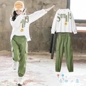 女童工裝套裝秋裝兒童裝大童運動兩件套女孩【奇趣小屋】